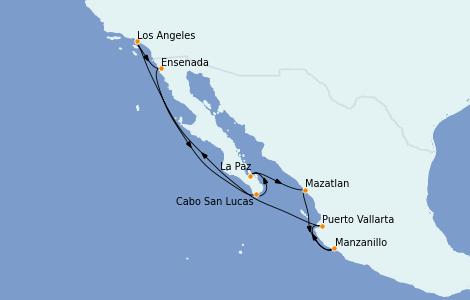 Itinéraire de la croisière Riviera Mexicaine 10 jours à bord du Regatta