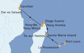 Itinéraire de la croisière Océan Indien 15 jours à bord du