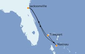 Itinéraire de la croisière Bahamas 5 jours à bord du Carnival Ecstasy