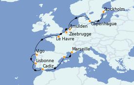 Itinéraire de la croisière Méditerranée 15 jours à bord du Costa Favolosa
