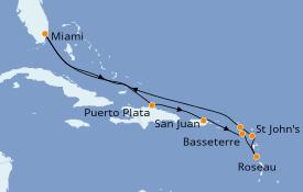 Itinéraire de la croisière Caraïbes de l'Est 11 jours à bord du Seven Seas Voyager