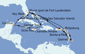 Itinéraire de la croisière Caraïbes de l'Est 21 jours à bord du ms Volendam