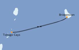 Itinéraire de la croisière Caraïbes de l'Est 7 jours à bord du Royal Clipper