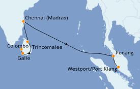 Itinéraire de la croisière Maldives 13 jours à bord du Le Lapérouse