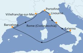 Itinéraire de la croisière Méditerranée 8 jours à bord du Brilliance of the Seas