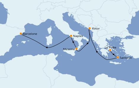 Itinéraire de la croisière Méditerranée 7 jours à bord du Enchanted Princess