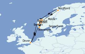 Itinéraire de la croisière Fjords & Norvège 10 jours à bord du Carnival Pride
