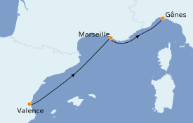Itinéraire de la croisière Méditerranée 3 jours à bord du MSC Divina