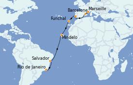 Itinéraire de la croisière Tour du Monde 2022 17 jours à bord du MSC Poesia