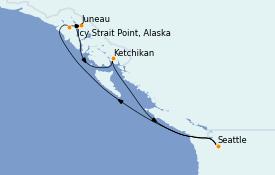 Itinéraire de la croisière Alaska 8 jours à bord du Norwegian Encore