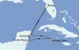 Itinéraire de la croisière Caraïbes de l'Ouest 7 jours à bord du Brilliance of the Seas
