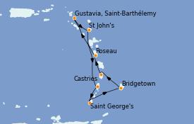 Itinéraire de la croisière Caraïbes de l'Est 8 jours à bord du Seven Seas Navigator