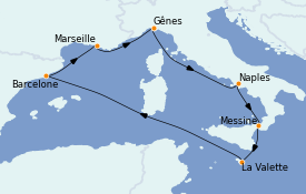 Itinéraire de la croisière Méditerranée 8 jours à bord du MSC World Europa