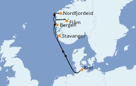 Itinéraire de la croisière Fjords & Norvège 8 jours à bord du MSC Splendida