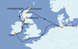 Itinéraire de la croisière Îles Britanniques 11 jours à bord du MSC Preziosa