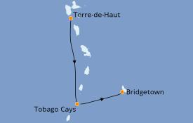 Itinéraire de la croisière Caraïbes de l'Est 8 jours à bord du Royal Clipper