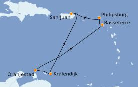 Itinéraire de la croisière Caraïbes de l'Est 8 jours à bord du Freedom of the Seas