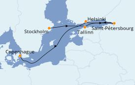 Itinéraire de la croisière Mer Baltique 8 jours à bord du Seabourn Ovation