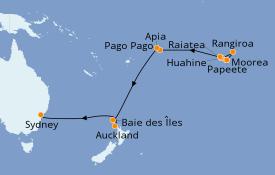 Itinéraire de la croisière Australie 2022 25 jours à bord du Pacific Princess