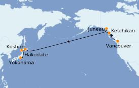 Itinéraire de la croisière Alaska 15 jours à bord du ms Noordam