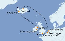 Itinéraire de la croisière Îles Britanniques 13 jours à bord du Norwegian Star