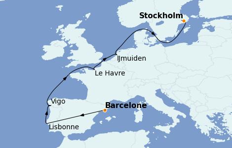 Itinéraire de la croisière Transatlantiques et Grands Voyages 2022 10 jours à bord du Costa Favolosa