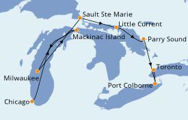 Itinéraire de la croisière Alaska 8 jours à bord du Le Champlain