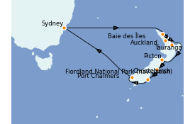Itinéraire de la croisière Australie 2022 14 jours à bord du Emerald Princess