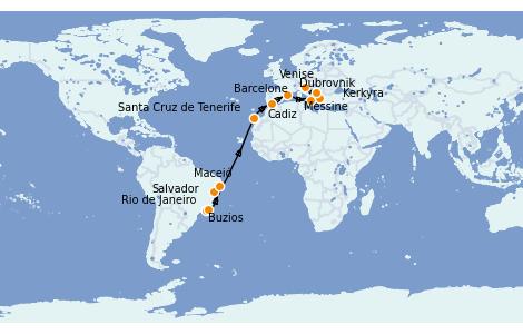 Itinéraire de la croisière Transatlantiques et Grands Voyages 2022 20 jours à bord du MSC Sinfonia