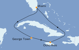 Itinéraire de la croisière Caraïbes de l'Ouest 6 jours à bord du Norwegian Getaway