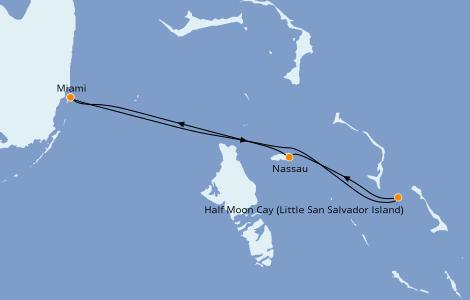 Itinéraire de la croisière Caraïbes de l'Est 4 jours à bord du Carnival Sunrise