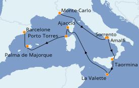 Itinéraire de la croisière Méditerranée 11 jours à bord du Seven Seas Voyager