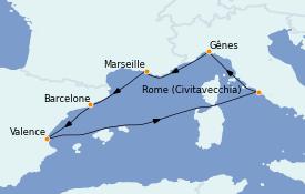 Itinéraire de la croisière Méditerranée 7 jours à bord du Costa Pacifica