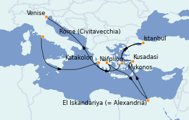 Itinerario de crucero Grecia y Adriático 15 días a bordo del ms Volendam