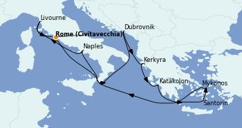 Itinéraire de la croisière Grèce & Adriatique 11 jours à bord du Norwegian Getaway