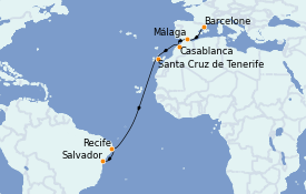 Itinerario de crucero Trasatlántico y Grande Viaje 2021 13 días a bordo del Costa Fascinosa