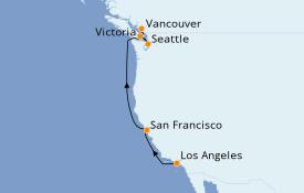 Itinéraire de la croisière Transatlantiques et Grands Voyages 2021 7 jours à bord du Norwegian Encore