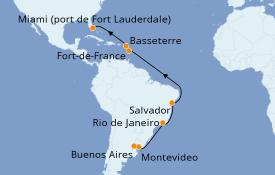 Itinéraire de la croisière Amérique du Sud 19 jours à bord du Coral Princess