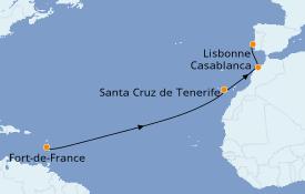 Itinéraire de la croisière Îles Canaries 14 jours à bord du Club Med 2