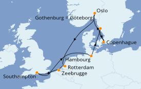 Itinéraire de la croisière Mer Baltique 11 jours à bord du Island Princess