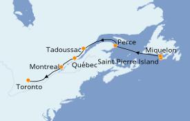 Itinéraire de la croisière Alaska 9 jours à bord du Le Champlain