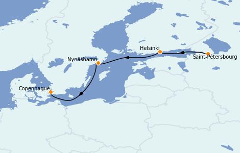 Itinéraire de la croisière Mer Baltique 4 jours à bord du Enchanted Princess
