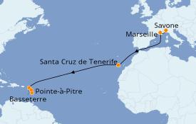 Itinéraire de la croisière Transatlantiques et Grands Voyages 2021 14 jours à bord du Costa Fortuna