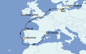 Itinéraire de la croisière Méditerranée 10 jours à bord du MSC Seaview