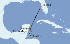 Itinéraire de la croisière Caraïbes de l'Ouest 7 jours à bord du Carnival Legend
