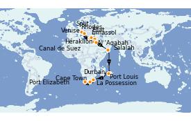 Itinéraire de la croisière Transatlantiques et Grands Voyages 2021 31 jours à bord du MSC Lirica