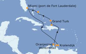 Itinéraire de la croisière Caraïbes de l'Est 11 jours à bord du ms Nieuw Statendam