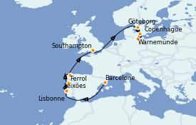 Itinéraire de la croisière Méditerranée 11 jours à bord du MSC Musica