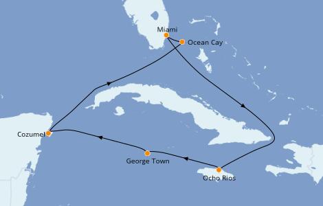 Itinéraire de la croisière Caraïbes de l'Ouest 7 jours à bord du MSC Seashore