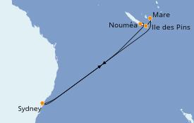 Itinéraire de la croisière Australie 2022 9 jours à bord du Carnival Splendor